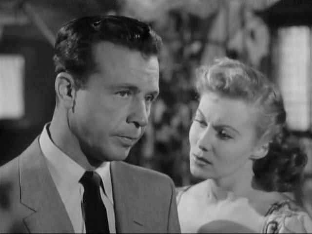 Dick Powell and Rhonda Fleming in CRY DANGER