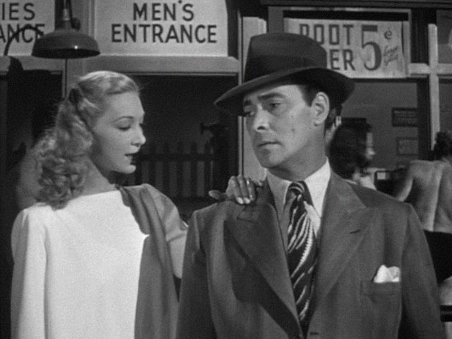 Belita and Barry Sullivan in THE GANGSTER