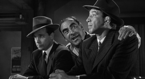 Dick Powell (left) and Mike Mazurki (right) in MURDER, MY SWEET