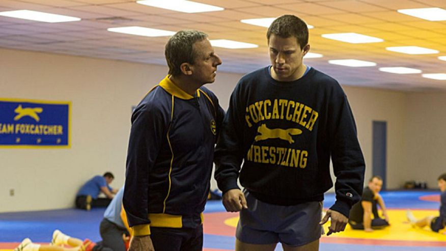 Steve Carell (yes - that's really him) and Channing Tatum in FOXCATCHER