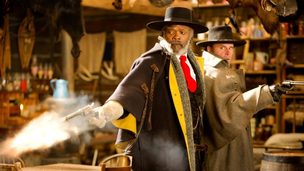 Samuel L. Jackson and Walton Goggins in THE HATEFUL EIGHT