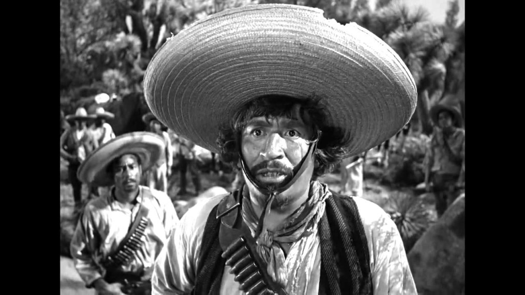 Alfonso Bedoya in THE TREASURE OF THE SIERRA MADRE: Badges? We ain't got no badges. We don't need no badges. I don't have to show you any stinking badges.