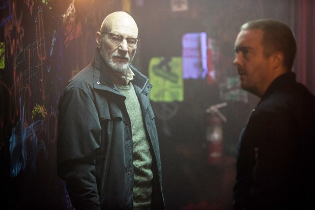 Patrick Stewart and Macon Blair in GREEN ROOM. photo courtesy of Scott Green/© A24.