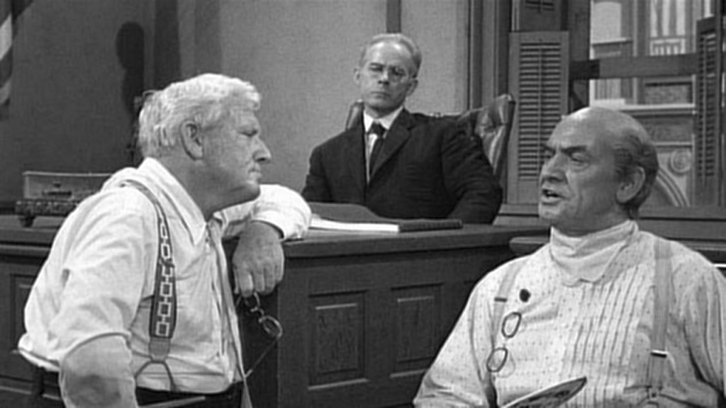 Spencer Tracy, Harry Morgan and Fredric March in INHERIT THE WIND